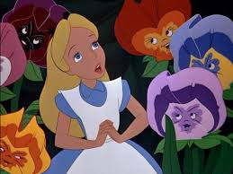 Alice with pansies