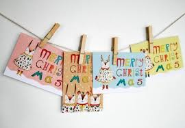 christmas cards on a string