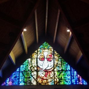 Holy Spirit window at St. Elizabeth Ann Seton Church in Absecon, NJ